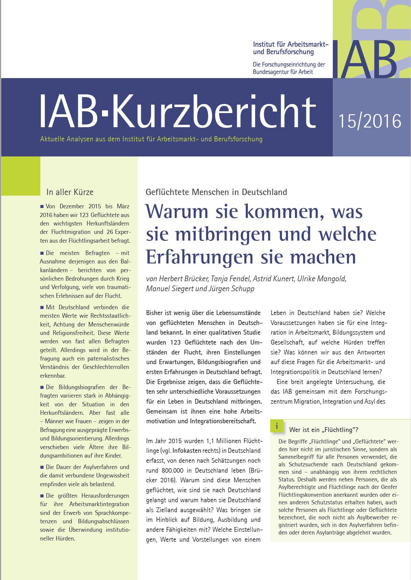 Kurzbericht IAB_QMR_Geflüchtete Menschen in Deutschland_Titel_02